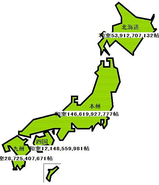 日本の国土の面積は畳を敷いたら何帖あるの??